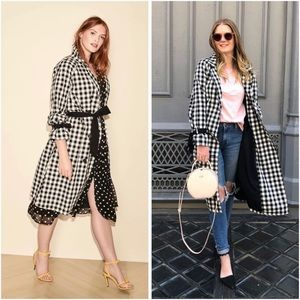 FLAW Who What Wear Black White Gingham Trench Coat